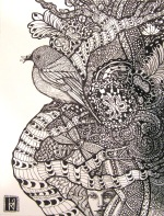 Edge of Entanglement, Zendoodle by Linda Mahoney